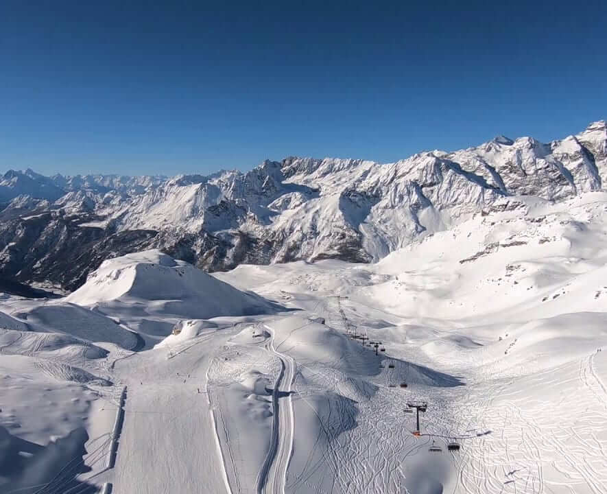 Aerial view of the Zermatt ski area