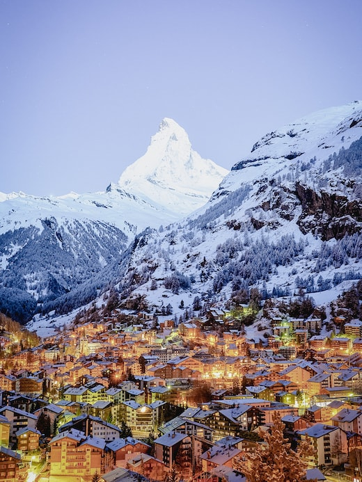 View of the village of Zermatt by night